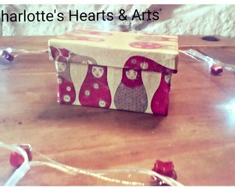 Hand decoupaged cardboard small gift/trinket box with Russian Doll motif