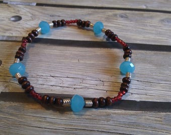 Wood and Glass beaded stretch bracelet, #e-804