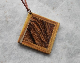 Wood Pendant. Hand Crafted From Exotic Bocote Wood. Framed In Smoke Bush Wood. Salvaged, Reclaimed Wood.
