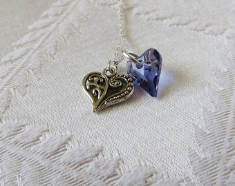 Sterling Silver Necklace with Double Hearts, Silver, Tanzanite and Clear, SN-218