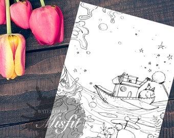 Bunny and Bear Boat Trip - Printable Art and Coloring Sheet
