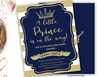 royal prince baby shower invitation blue and gold baby shower invitation boy baby shower