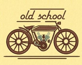 Old School Motorcycle Machine embroidery design 2 size