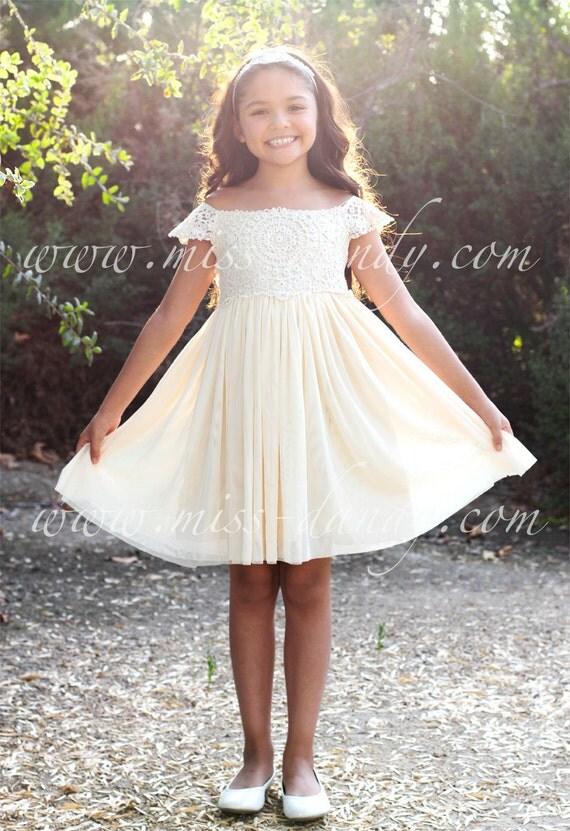 Cream Ivory Flower Girl Dress, Lace dress,Champagne Ivory Cream Wedding, Ivory tutu dress, Princess Dress,First Communion Dress-Sienna Dress