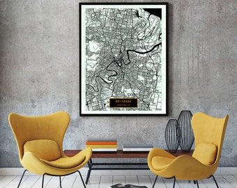 BRISBANE Australia CANVAS Large Art City Map Brisbane Australia Art Print poster map art jt Wall Art Home Decor JackTravelMap