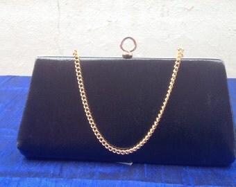 60's vintage black leather purse
