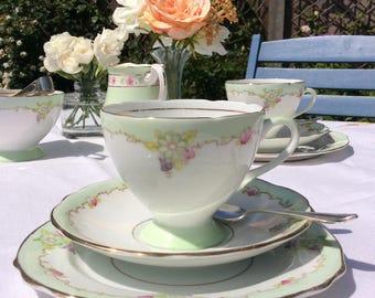 English Bone china tea set: 1960s mint and white trio tea cup, saucer and plate, Gladstone bone China 1950s, celebrate the perfect occasion