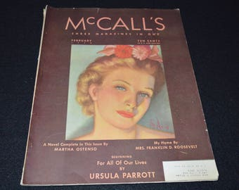 Vintage McCall's Magazine February 1938, Vintage Advertising, Art Deco Fashion Pattern Numbers, Article by Mrs Roosevelt, 38 Fords,  Disney