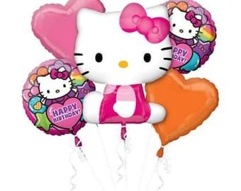 Hello Kitty 5 pc Balloon bouquet, Hello Kitty birthday decoration, Hello Kitty balloons