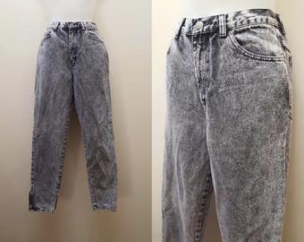 1980s Acid Washed Jeans / 80s/90s High Waist Acid Wash Jeans