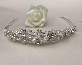 Pearl and crystal tiara, wedding tiara, bridal tiara, wedding ideas, wedding hairpiece, swarovski tiara