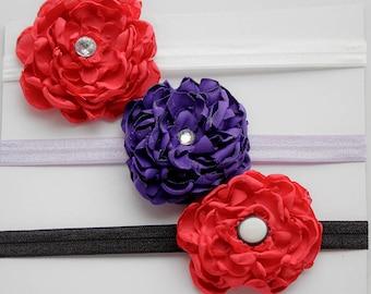 Set of Three Beautiful Flower Headbands for Kids, Baby Headband, Children Headband, Special Occasion, Toddler Headbands, Red Flower Headband