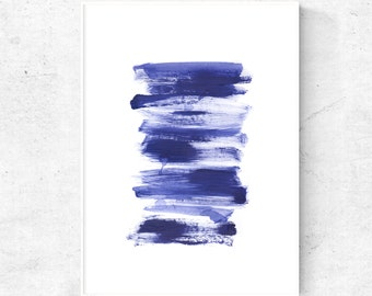 Abstract Blue wall art, abstract painting, printable painting, blue digital print, dark blue watercolor art, minimalist abstract download