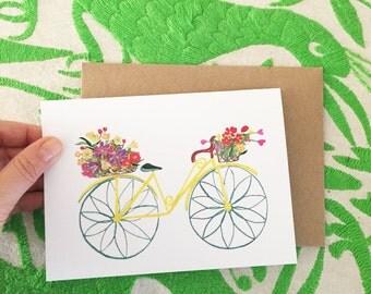 Flower Basket Bike, Greeting Card