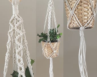 Zigzag thick cotton - Macramé plant hanger - DESIGN 6