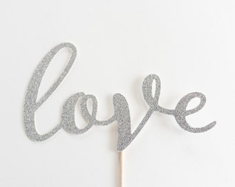 Love Silver Wedding Cake Topper, Glitter, and, Bridal shower Decor, Script , Calligraphy, Handwritting, Decoration, Mr and Mrs