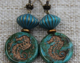 Turquoise seahorse Designer lavender Czech Glass latest , mauve green gold etched lucite bronze patina highlights