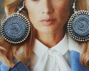 Textile earrings blue , fiber earrings round -Textile jewelry /Blue Denim Earrings/Jeans Earrings/Textile Earrings