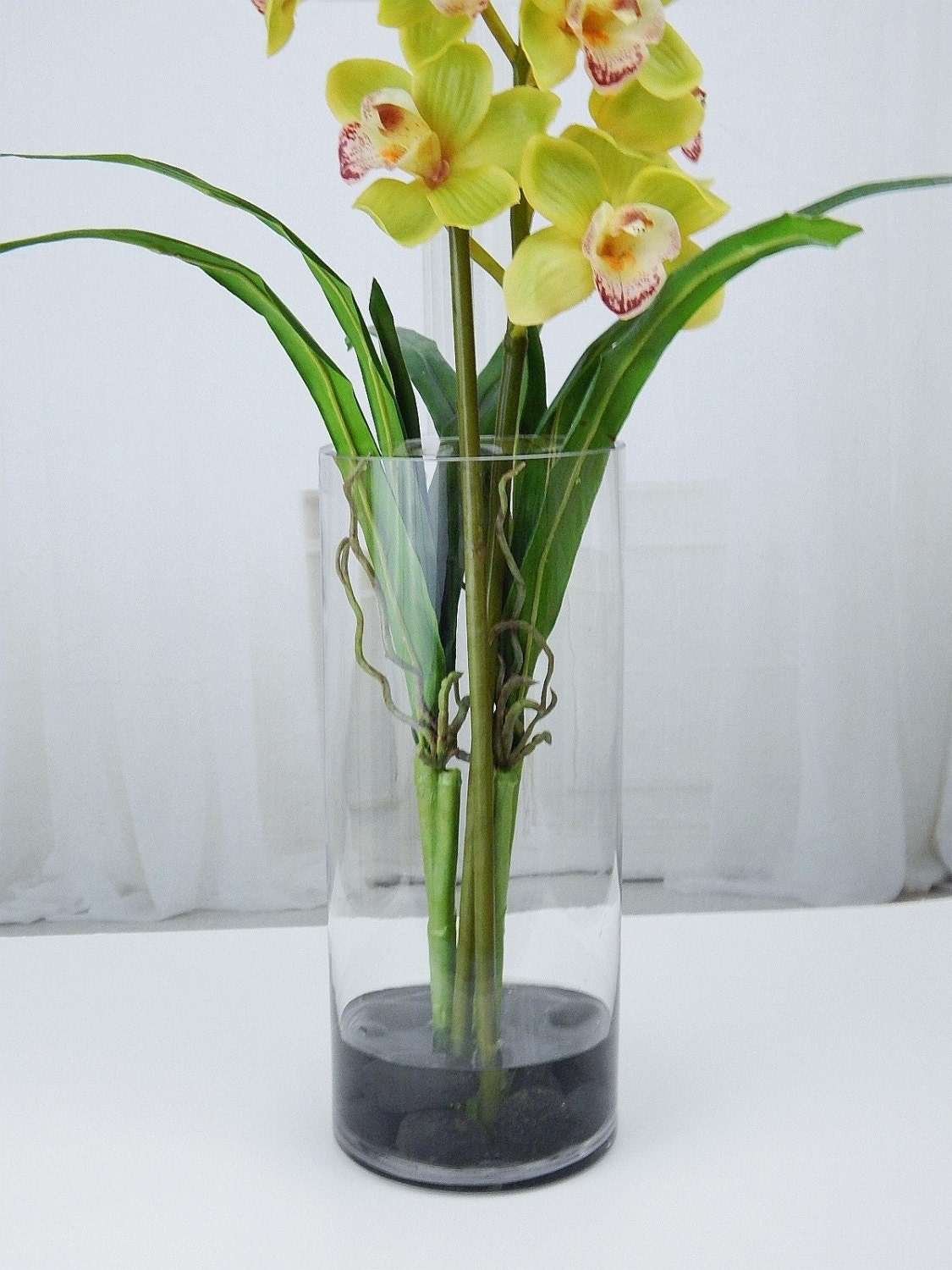 Green cymbidium orchids plant acrylic water faux silk real gallery photo gallery photo gallery photo reviewsmspy