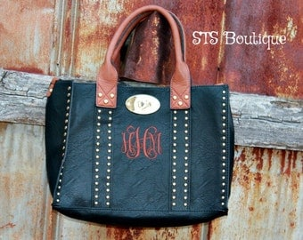 Monogrammed - Studded Purse - 3 In One