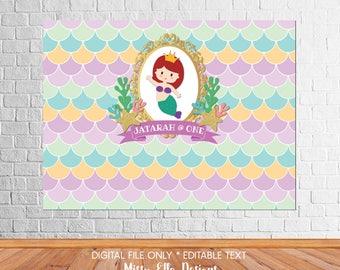 Cute Pastel Mermaid Party Backdrop // Dessert Table Backdrop // Little Mermaid Photo Wall // Mermaid Backdrop // Digital Printable