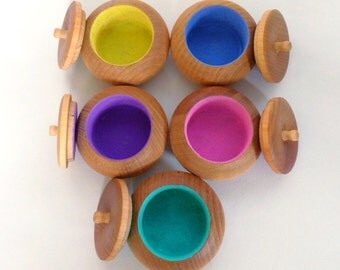 Wooden Sorting Lidded Pots, Pastel Colour Sorting, Montessori Educational, Teaching Aid, Classroom Resource
