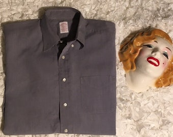 BROOKS BROTHERS SHIRT mens gray long sleeve dress casual xl extra large 16 and 1/2 to 6 solid 100% cotton button up vintage