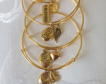 Adustable gold-tone stackable charm bangles
