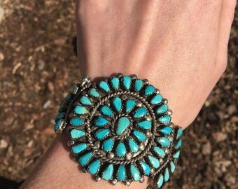 Heavy Zuni Petit Point Turquoise Cluster Cuff