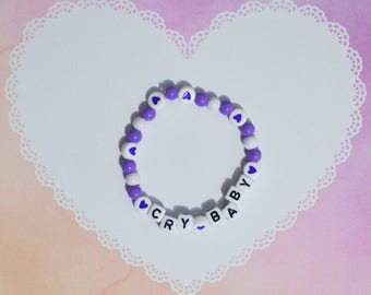 Cute Pastel Purple Crybaby Stretchy Elastic Beaded Bracelet