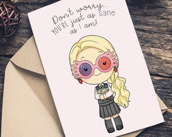 LUNA Lovegood Harry Potter Greeting Card Happy Birthday or (ANY OCCASION)  I Love You wizard Pun Magic Hogwarts Boyfriend Girlfriend