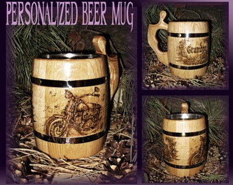 Personalized Mens Gift/Harley Davidson/Brother Gift/Grandpa Gift/Real Man Gift/Wooden Beer Mug/Gift For Boyfriend/Husband Gift/Beer Stain