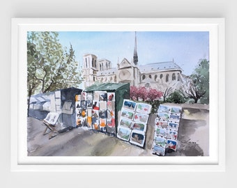 "Original watercolor,city scene painting,seine river,paris,Notre Dame,travel,les bouquistes,9.5""x12.6"",home decor"