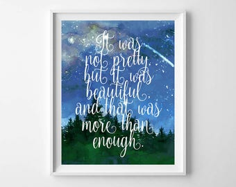 You Are More Than Enough,Motivational Print,Office Decor,Love quote,blue sky night stars,Inspirational Quote,Mountain,Forest