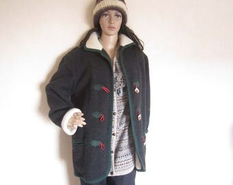 Vintage Teddy jacket country house jacket wool dress jacket wool oversize