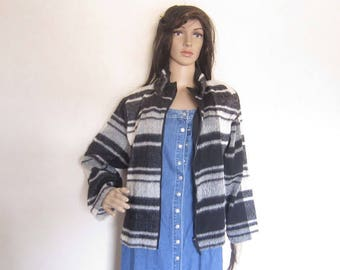 Vintage 80s light wool jacket kastig layered look oversize boxy Plaid jacket