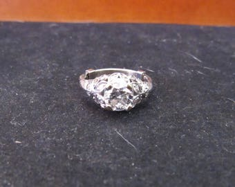 Wonderful Size 7.5 Platinum Diamond Vintage Ladies Milgrain Ring .97 Ct Center Stone SI1 I Color (E762)