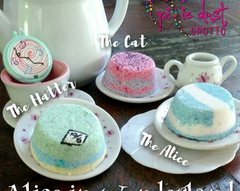 Alice in Wonderland inspired mini bath bomb set, the queen of hearts, the Cheshire cat, the mad hatter, through the looking glass
