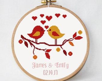 Wedding Cross Stitch Pattern Personalized Wedding gift autumn love story PDF instant download birds