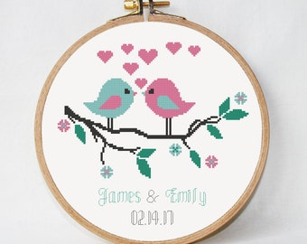 Modern Wedding cross stitch pattern, wedding birds, customizable, spring love story , anniversary gift PDF DIY instant download