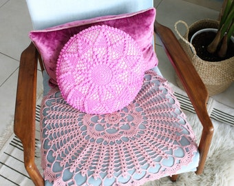 Crochet pink pillow, Round pillow, Pink nursery pillow cover, Throw crochet pillows, Vintage crochet pillow