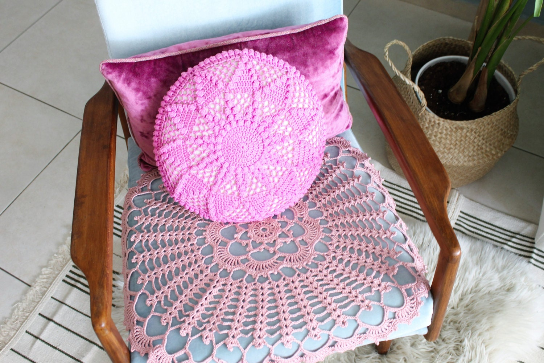 Crochet rose coussin coussin rond housse de coussin rose - Housse de coussin rond ...