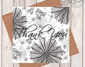 Flower Bumble Bee Thank you card