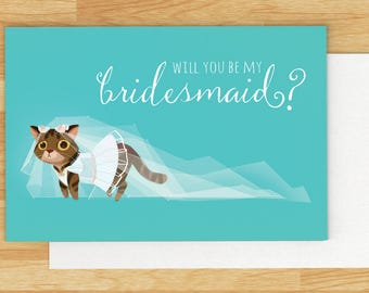 Will You Be My Bridesmaid Printable, Cat theme Wedding Card, Printable, DIY Wedding, Bridesmaid Gift, Digital Download, Instant Download