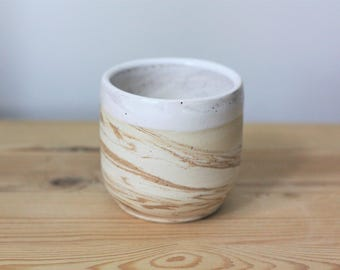 Marbled Ceramic Tumbler –  Marbled Pottery Cup – Handmade Pottery Tumbler – Ceramic Planter – Pottery Planter
