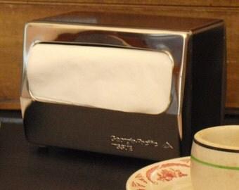 Vintage Black and Chrome Napkin Holder, Georgia Pacific, Tissue Dispenser, Mid Century Tabletop Napkin Dispenser, Kitchen Decor, Cafeteria