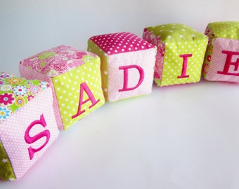 Baby girl name blocks - Personalized name