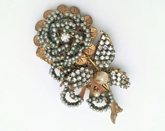 Vintage Signed Miriam Haskell Rose Brooch, Gold Metal with Clear Rhinestones and Pearls, ca. 1950-1951