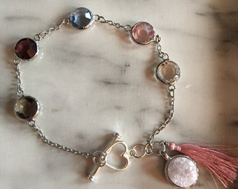 Crystal and chain bracelet