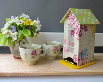 Unicorn Tea house, fairy tea box, tea bags storage, wooden tea bags holder, tea organizer, kitchen decor, housewarming gift